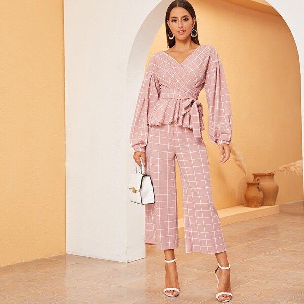 Grid Print Wrap Knit Top & Palazzo Pants Set