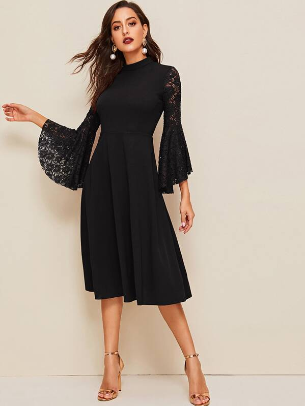 Mock Neck Lace Bell Sleeve Dress, Mary P.