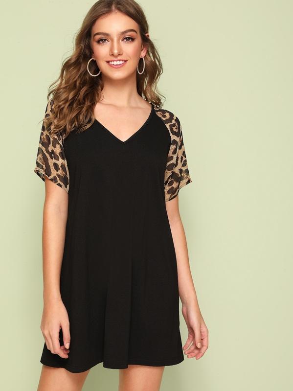 V-neck Leopard Print Raglan Print Swing Dress, Black, Luiza