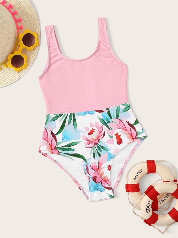 Girls Contrast Floral One Piece Swimwear, null