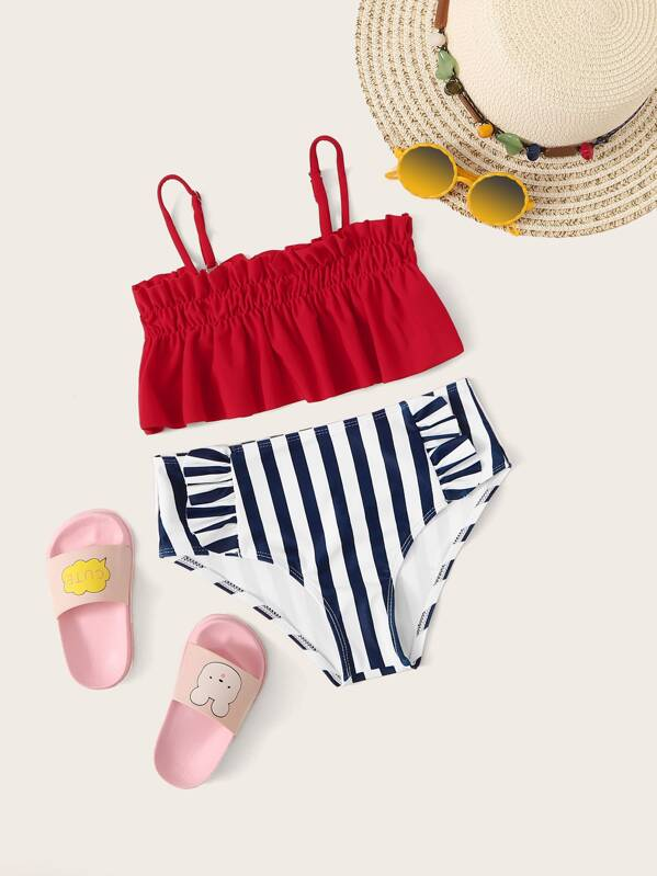 Girls Ruffle Hem Top With Striped Bikini Set, null
