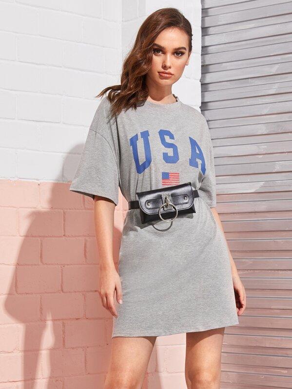 Letter & Stars and Stripes Print Drop Shoulder T-shirt Dress, Katja