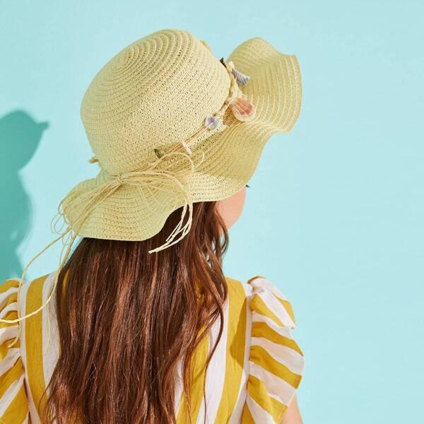 Toddler Girls Shell Decor Bow Knot Floppy Hat