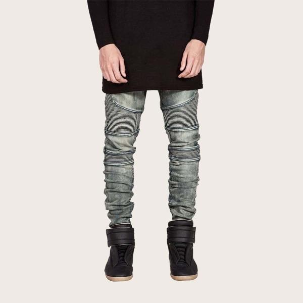 Men Ruched Washed Jeans, Grey
