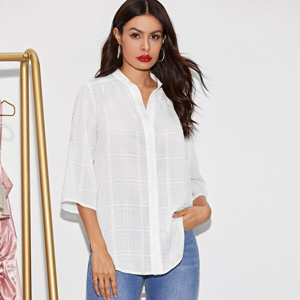 Solid Roll Up Sleeve High Low Hem Blouse, White
