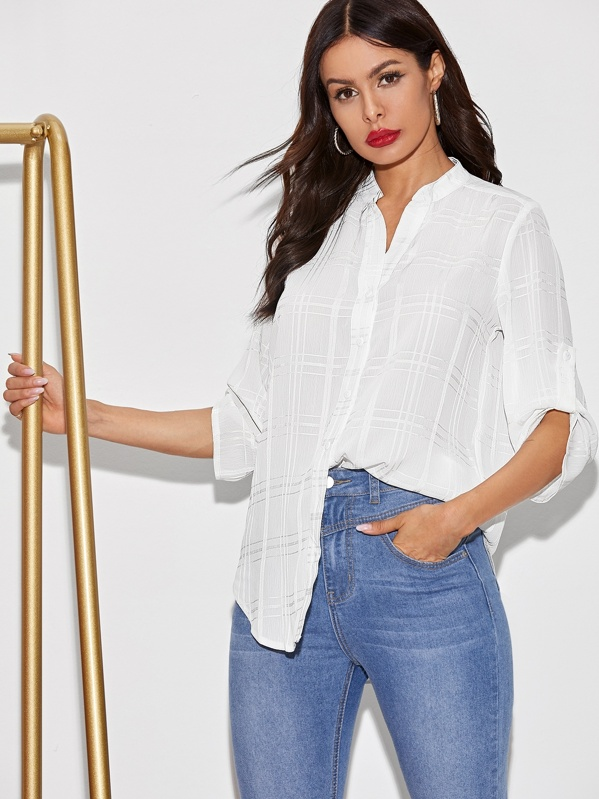 Solid Roll Up Sleeve High Low Hem Blouse, White, Andy