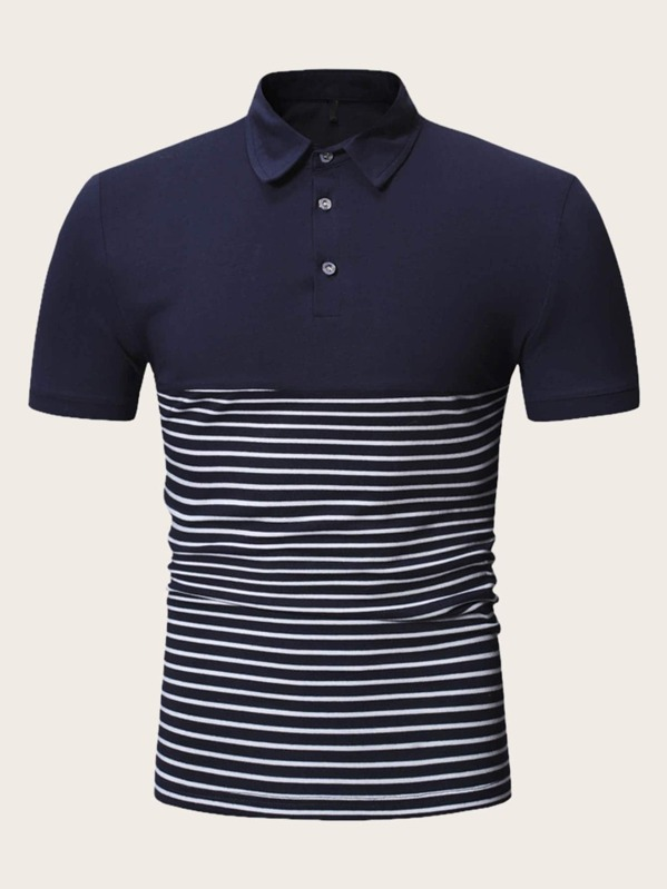 Men Contrast Stripe Polo Shirt, null