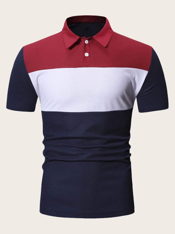 Men Cut And Sew Polo Shirt, null