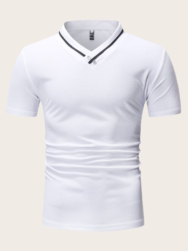Men Contrast Tape Stand Collar Polo Shirt, null