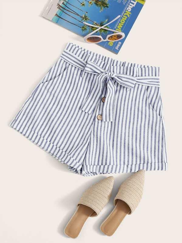 Striped Button Detail Self Tie Shorts, Blue