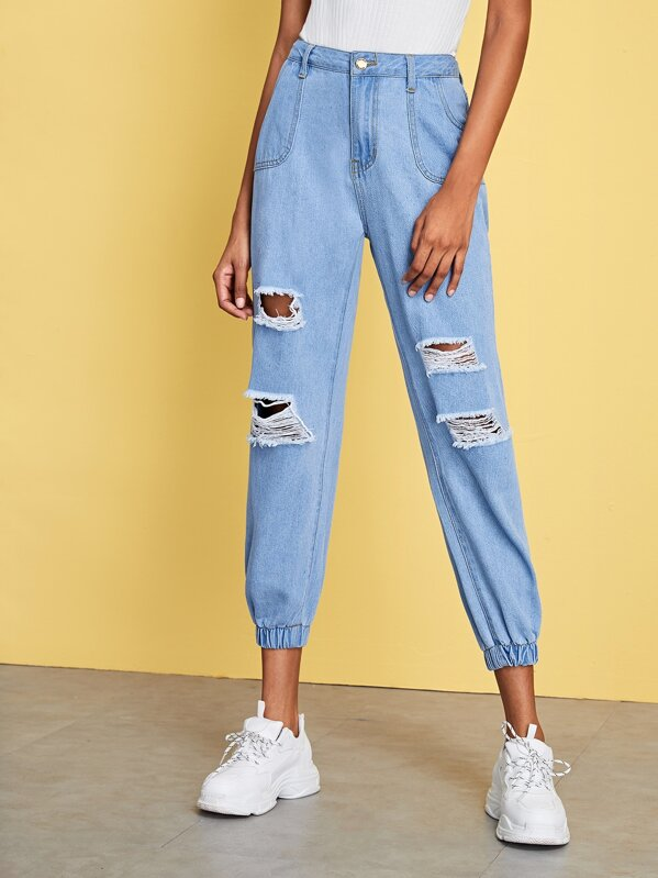 Button Waist Ripped Jeans, Leticia