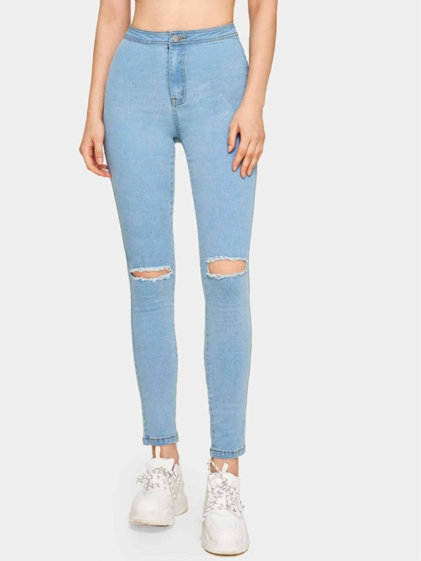 Button Waist Ripped Jeans, Aleksandra J