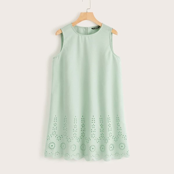Laser Cut Scallop Hem Dress, Green pastel
