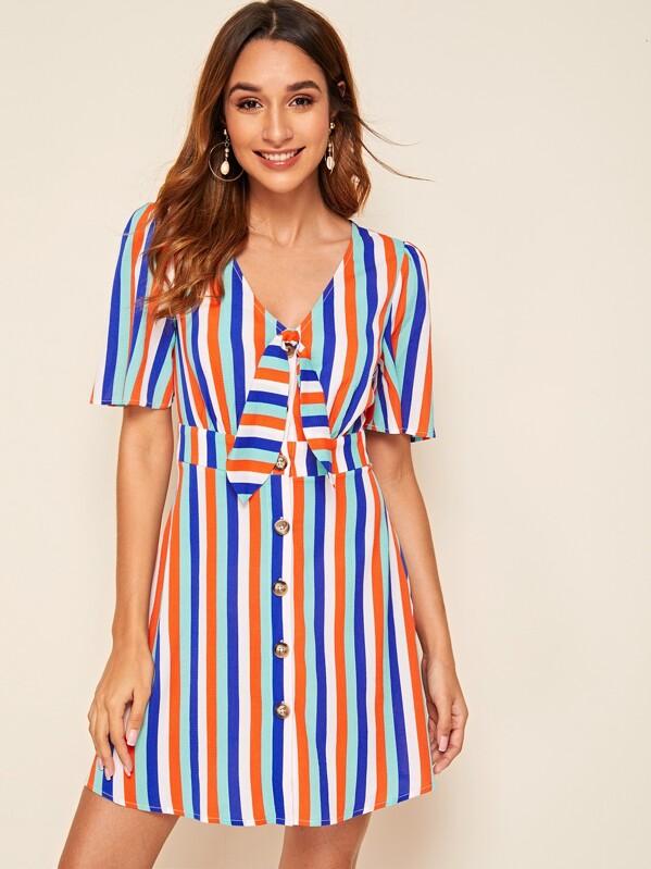 Tie Neck Single Breasted Colorful Striped Dress, Multicolor, Gabi B