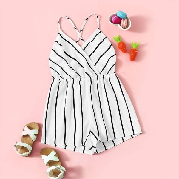 Girls Surplice Neck Crisscross Striped Cami Playsuit