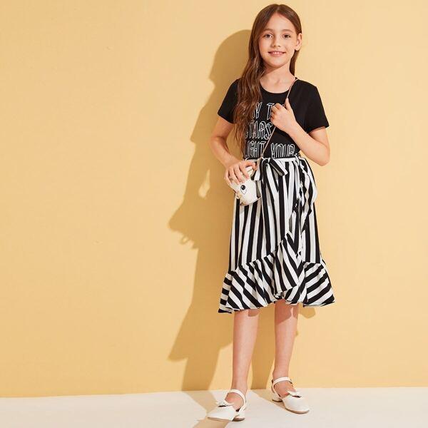 Girls Slogan Print Tee and Ruffle Trim Wrap Skirt Set
