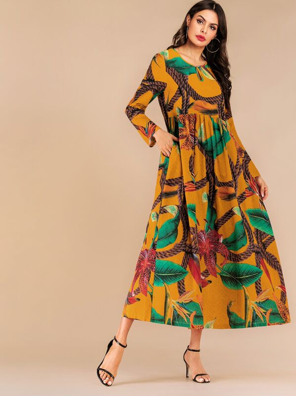 Random Graphic Print Longline Dress, Multicolor