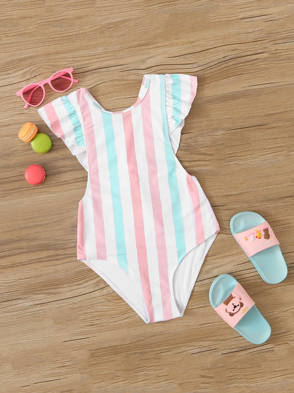 Girls Striped Ruffle Trim One Piece Swimwear, null