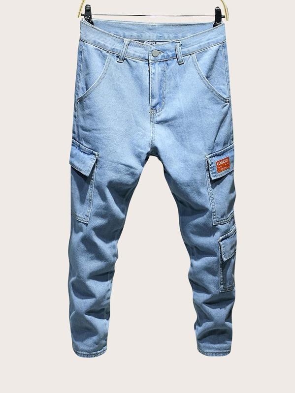 Men Pocket Side Patched Jeans