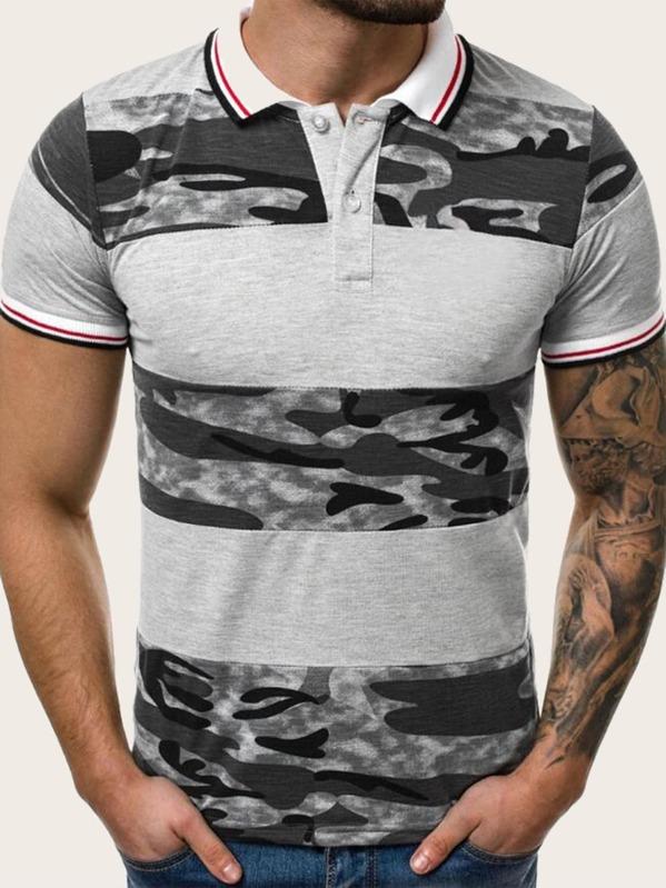 Men Contrast Trim Camo Print Polo Shirt, null