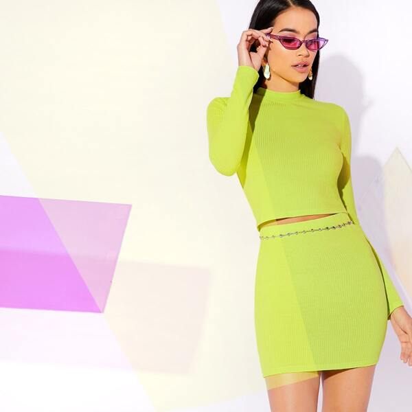 Neon Lime Mock Neck Rib-knit Top & Bodycon Skirt Without Chain Set