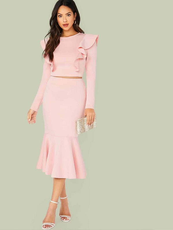Ruffle Trim Fitted Top & Fishtail Hem Skirt Set, Pink, Christen Harper