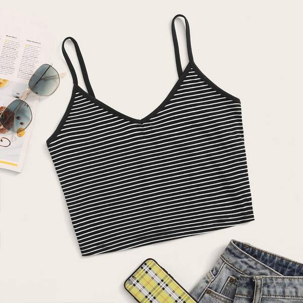 Striped Ringer Cami Top, Black and white