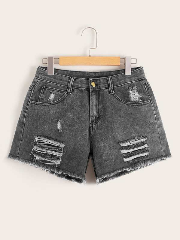 Button Waist Ripped Raw Hem Denim Shorts, null