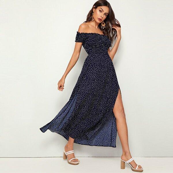 Off Shoulder Frill Trim Shirred Split Thigh Polka-dot Dress, Navy