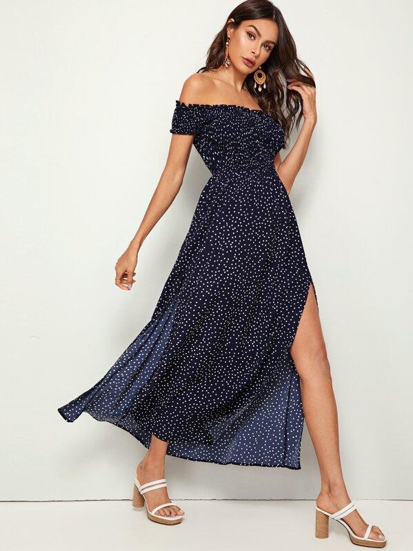 Off Shoulder Frill Trim Shirred Split Thigh Polka-dot Dress, Navy, Andy