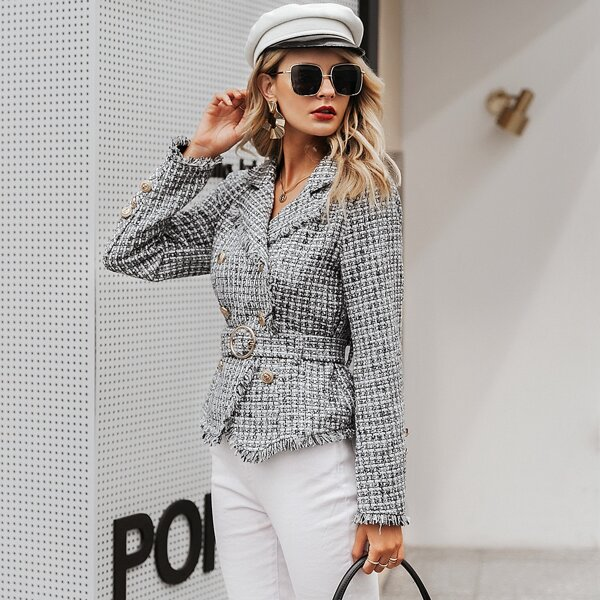 Simplee Double Breasted Belted Frayed Tweed Blazer, Black and white