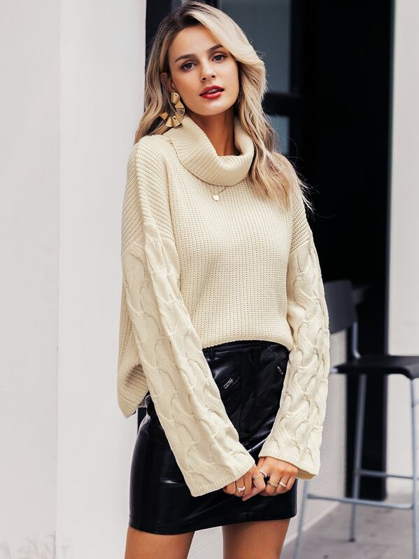 Simplee Solid Drop Shoulder Turtleneck Cable Sweater