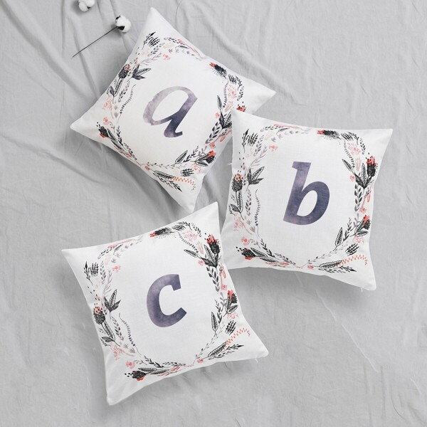Letter & Floral Print Cushion Cover 1pc, Multicolor
