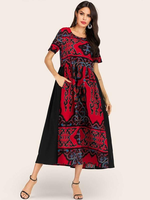 Graphic Print Hidden Pocket Longline Dress, Multicolor