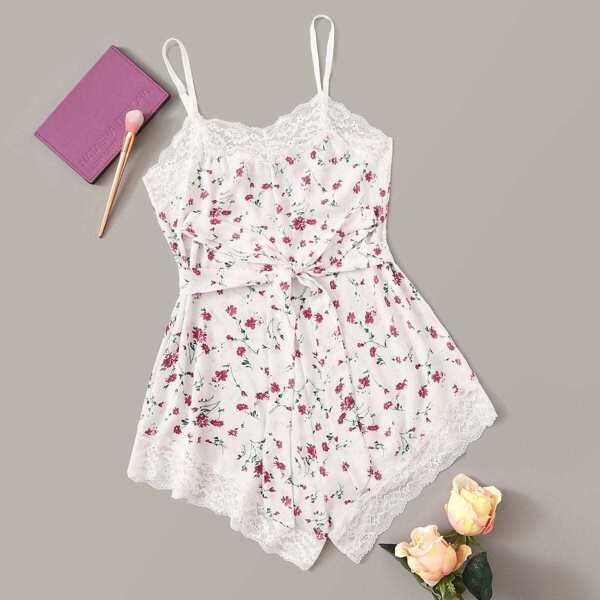 Ditsy Floral Lace Trim Belted Romper Bodysuit