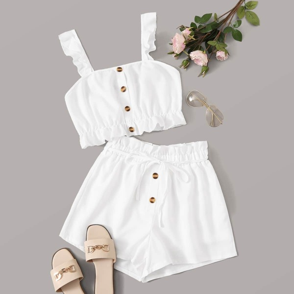 Button Detail Cami Top & Paperbag Waist Belted Shorts Set