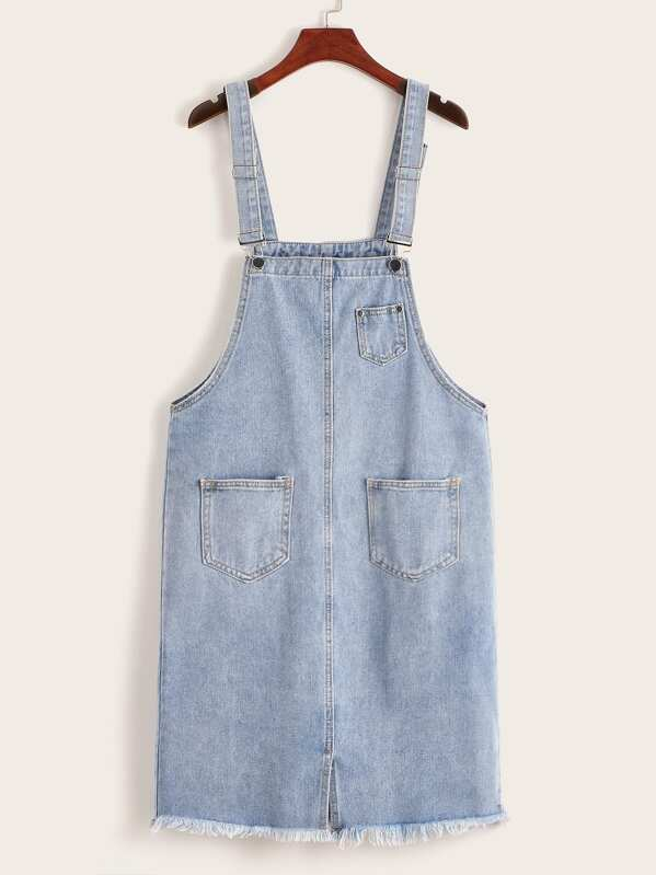 Dual Pocket Raw Hem Denim Pinafore Dress, null