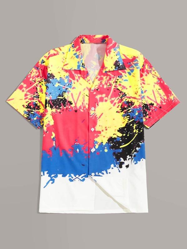 Men Splatter Paint Shirt, null