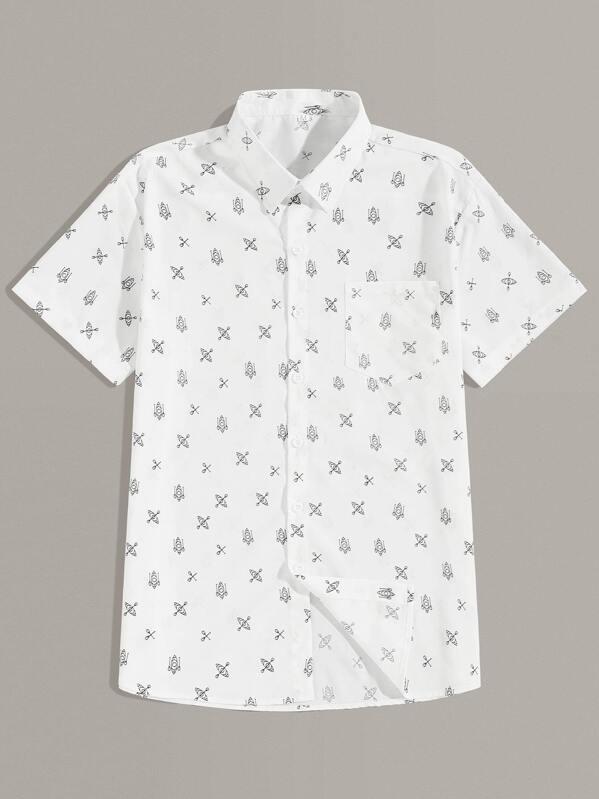 Men Boat Print Curved Hem Shirt, null