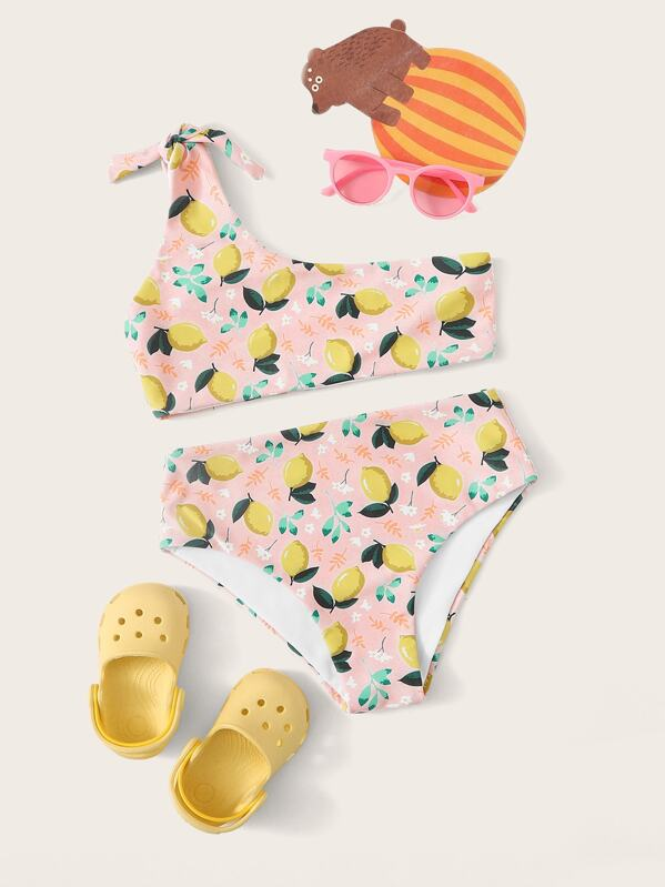 Girls Lemon Print One Shoulder Bikini Set, null