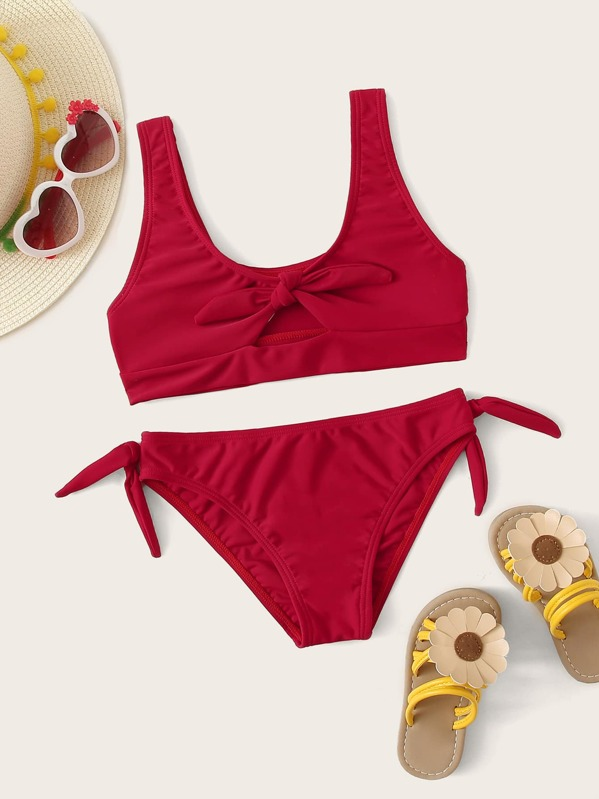 Girls Knot Front Top With Cheeky Bikini Set, null