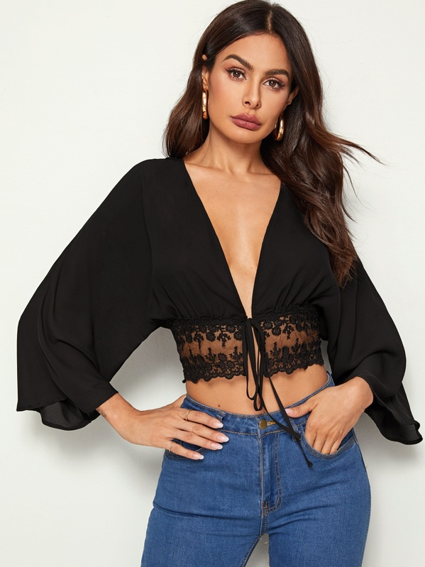 Batwing Sleeve Lace Hem Self Tie Front Kimono, Black, Andy