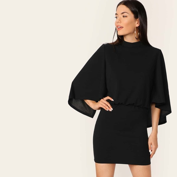 Cape Sleeve Blouson Waist Bodycon Dress