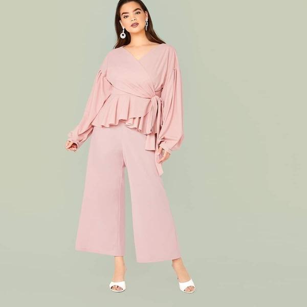 Plus Wrap Belted Peplum Top & Wide Leg Pants, Pink pastel