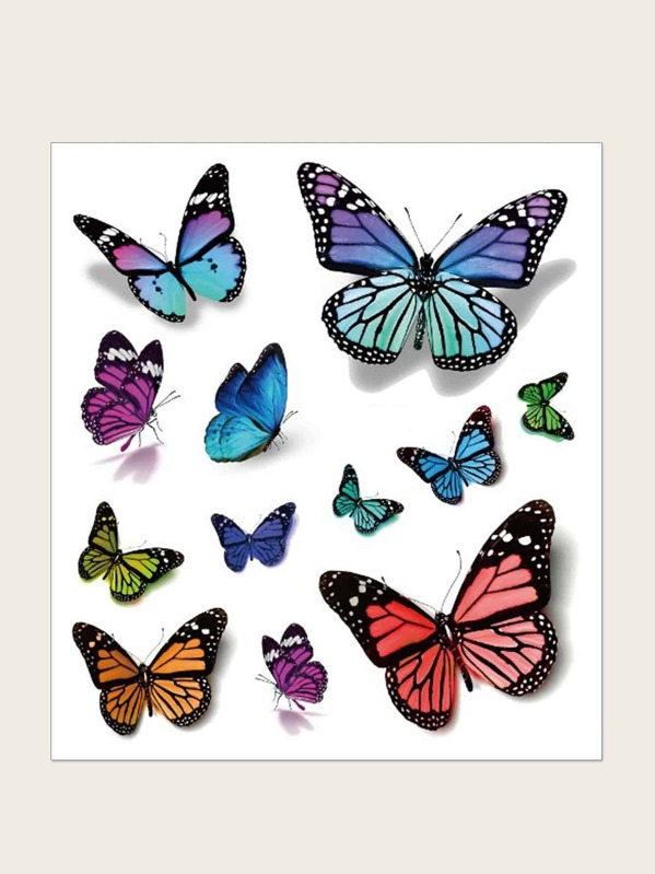 3D Butterfly Pattern Tattoo Sticker 1sheet, null