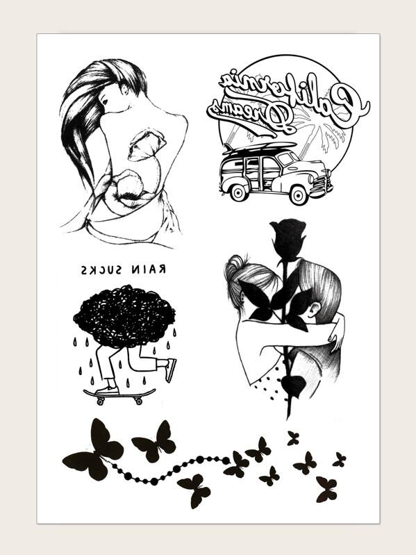 Butterfly & Car Pattern Tattoo Sticker 1sheet, null
