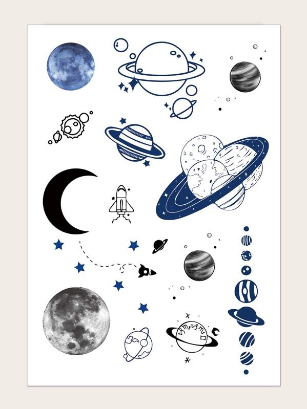 Planet Pattern Tattoo Sticker 1sheet, null