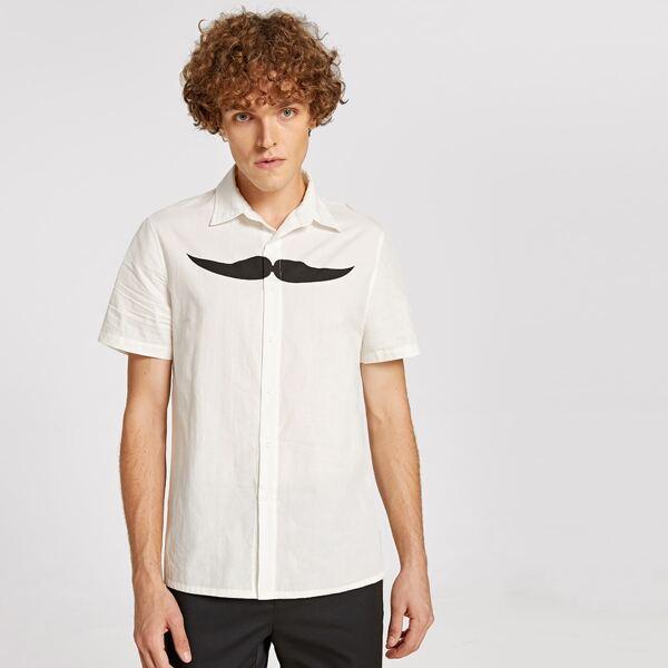 Men Moustache Print Shirt