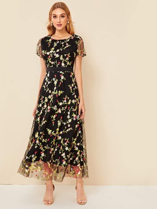 Embroidery Mesh Overlay Longline Dress, Mary B