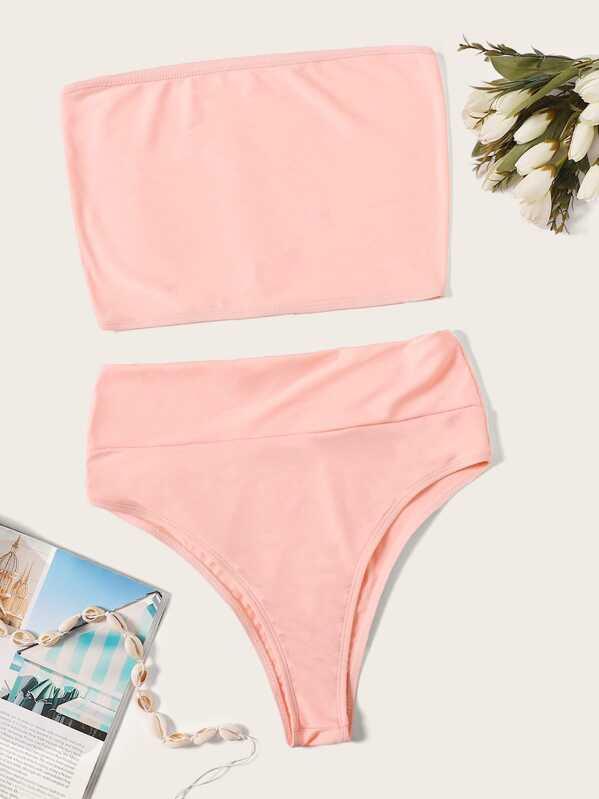 Bandeau With High Waist Bikini Set, Pink